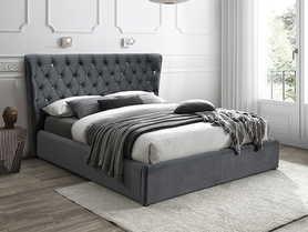 Łóżko sypialniane Carven 160x200 szara tkanina velvet/venge drewno signal