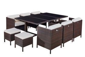 Meble ogrodowe Cristallo grande stół + 6 krzeseł + 4 pufy technorattan brąz