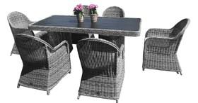 Meble ogrodowe Vero stół + 6 krzeseł szary technorattan