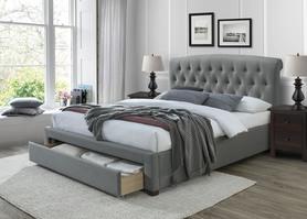 Łóżko sypialniane Avanti 160x200 popiel tkanina/drewno szuflada Halmar