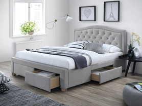 Łóżko sypialniane z szufladami Electra szara tkanina 140x200 signal