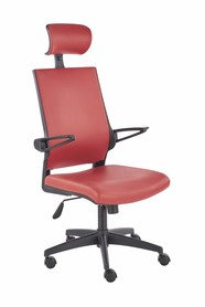 Fotel pracowniczy Ducat czerwony eco skóra Halmar