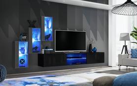 Meblościanka Switch 22 grafit - czarny mat/połysk + LED