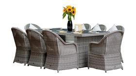 Meble ogrodowe Vero Grande stół + 8 krzeseł szary technorattan