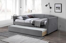 Łóżko sypialniane Sanna 90x200 popiel tkanina/drewno Halmar