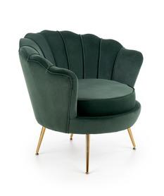 Fotel wypoczynkowy Amorinito tkanina ciemna zieleń/złoty metal halmar