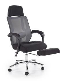 Fotel pracowniczy Freeman czarny/popiel tkanina membranowa/siatka podnóżek Halmar