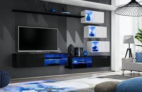Meblościanka Switch 24 czarno - biały mat/połysk + LED