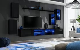 Meblościanka Switch 25 czarny połysk + LED