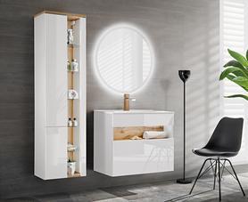 Meble łazienkowe z umywalką 60 cm Bahama White biel alpejska / wotan + LED