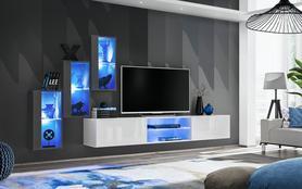 Meblościanka Switch 22 grafit - biały mat/połysk + LED