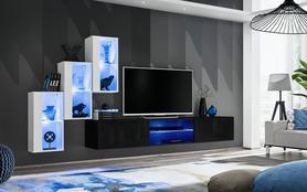 Meblościanka Switch 22 biało - czarny mat/połysk + LED