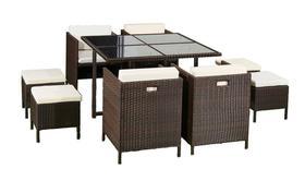 Meble ogrodowe Cristallo stół + 4 krzesła + 4 pufy technorattan brąz