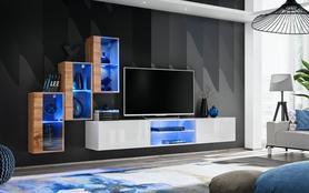 Meblościanka Switch 22  wotan - biały mat/połysk + LED