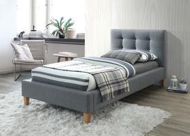 Łóżko sypialniane Texas 90x200 szara tkanina/dąb signal