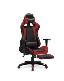 Fotel gabinetowy Defender 2 czarny/czerwony ekoskóra podnóżek Halmar