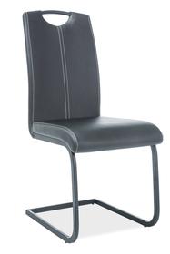 Krzesło na płozach h-148 czerń eco skóra/metal signal