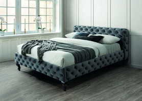 Łóżko sypialniane Herrera 160x200 szara tkanina velvet/venge drewno signal