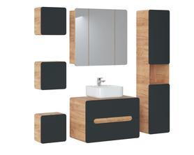 Meble łazienkowe z umywalką 80 cm Aruba Cosmos UNI dąb artisan/czarny mat
