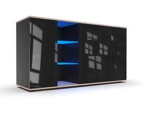 Komoda Mona 1D dąb sonoma-czarny połysk + LED