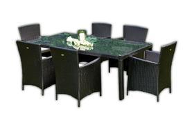Meble ogrodowe Gustoso stół + 6 krzeseł czarny technorattan