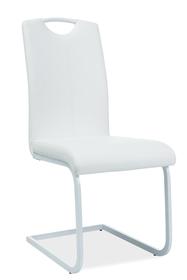 Krzesło na płozach h-148 biel eco skóra/metal signal