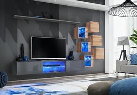 Meblościanka Switch 21 grafit - wotan mat/połysk + LED