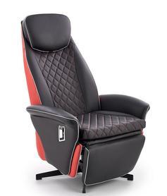 Fotel wypoczynkowy Camaro czarno - czerwona ekoskóra/stal halmar