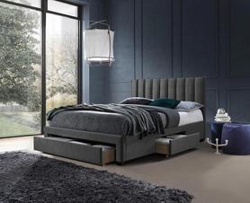 Łóżko sypialniane Grace 160x200 popiel tkanina velvet/drewno szuflady Halmar