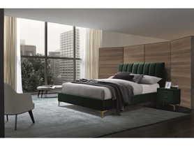 Łóżko sypialniane Mirage 160x200 zielony velvet/złoty metal signal