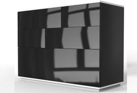 Komoda Ola 119 cm biało-czarny mat / czarny połysk