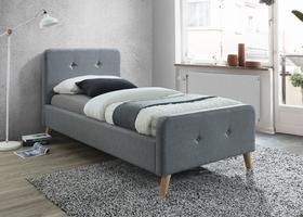 Łóżko sypialniane Malmo 90x200 szara tkanina/dąb drewno signal