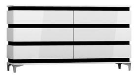 Komoda Zebra 160 cm biało-czarny mat/biały połysk