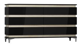 Komoda Zebra 160 cm czarny-dąb sonoma mat/czarny połysk