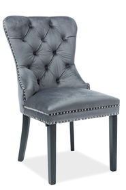 Krzesło August szara tkanina velvet/czarne drewno signal