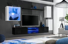 Meblościanka Switch 23 biało - czarny mat/połysk + LED
