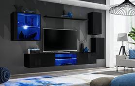 Meblościanka Switch 23 czarny połysk + LED