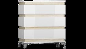 Komoda Zebra mini 80 cm biały-dąb sonoma mat/biały połysk