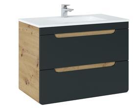 Szafka łazienkowa z umywalką 80 cm Aruba cosmos 821 dąb artisan/czarny mat