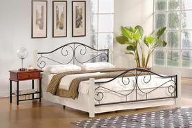 Łóżko sypialniane Violetta 140x200 biały/czarny drewno/stal Halmar