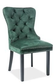 Krzesło August zielona tkanina velvet/czarne drewno signal