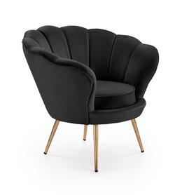 Fotel wypoczynkowy Amorino czarna tkanina/złoty metal halmar