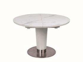 Rozkładany stół Helios 120(160)x75 efekt marmuru/biały mdf/szkło/metal Signal