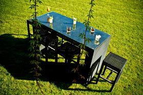 Meble ogrodowe barowe Geniale stół + 6 krzeseł czarny technorattan
