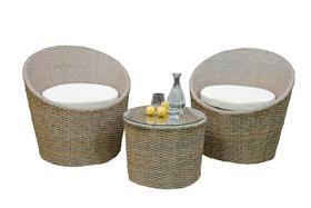 Meble ogrodowe MODICO 2 fotele + ława brąz melanż technorattan