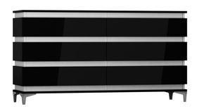 Komoda Zebra 160 cm czarno-biały mat/czarny połysk