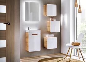 Meble łazienkowe z umywalką 40 cm Aruba dąb craft złoty/biały połysk + LED