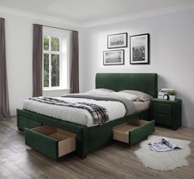 Łóżko sypialniane Modena 3 160x200 ciemny zielony tkanina velvet/drewno Halmar