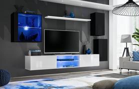 Meblościanka Switch 23 czarno - biały mat/połysk + LED