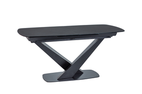 Rozkładany stół Cassino I 160(220)x90 czerń szkło/mdf/metal Signal